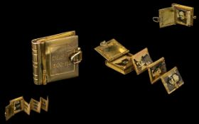 Churchill Interest: Unusual 9ct Gold Square Book Locket;