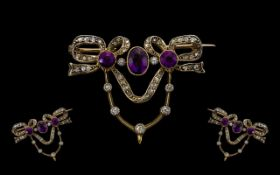 Early Victorian Period Exquisite and Superb Quality Diamond and Amethyst Sweetheart Set Brooch/