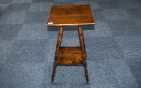 """Oak Square Topped Occasional Table on shaped turned legs. 18"""" square, 38"""" high."""