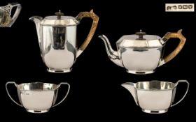 George VI Art Deco Period Sterling Silver 4 Piece Teaset in a true Art Deco Design.