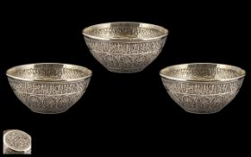 William Comyns Anglo Indian Wonderful Quality Trio of Sterling Silver Finger Bowls (3) of wonderful