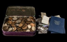 Tin Box of Mixed Coins British with Postal Orders, unused,