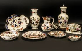 A Collection of Mason's Mandalay Pottery to include two Table Lamps, one with shade; desk clock,