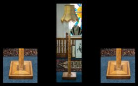Art Deco Inlaid Walnut Standard Lamp with shade, of square tapering form, on a square base.