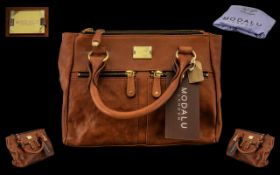 Modallu London Brown Leather Ladies Fashion Handbag with Original Label Still Attached with Outer