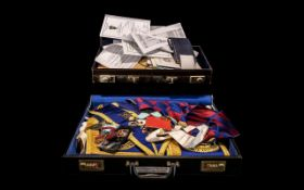 Collection of Masonic Memorabilia comprising a small case containing Masonic leaflets,