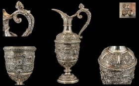 Victorian Period Stunning and Large Solid Silver ' Cellini ' Designed Wine Ewer of Wonderful