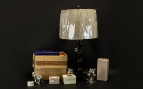 Collection Of Modern Decorative Items To Include A Table lamp And Shade, Boxed Ornaments,