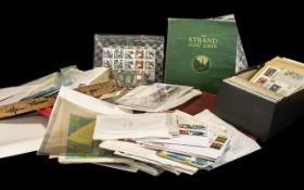 Box of Ephemera to include mostly stamp related, Strand stamp albums, stock books, First Day Covers,