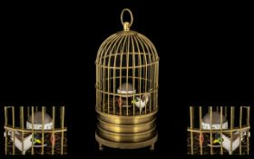 Victorian Period Novelty and Original Brass Bird Cage Mechanical Wind Up Clock with small feathered
