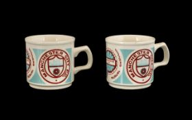Football Interest: Pair of Manchester City Commemorative Mugs celebrating the achievement as