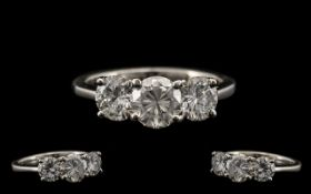 18ct White Gold Superb Quality 3 Stone Diamond Ring. Fully hallmarked 18ct - 750.