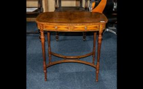 Edwardian Inlaid Mahogany Centre Table, the top decorated with ribbon swaggering,