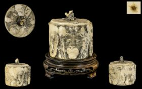 Japanese Meiji Period Carved Ivory Lidded Round Box of fine quality workmanship with detailed