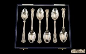 Elizabeth II Top Quality Set of Six Solid Silver Teaspoons of Thick Gauge. With display box.