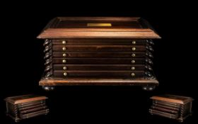Coin Collector's Mahogany Cabinet fitted with four drawers, with red silk lining to the interior,