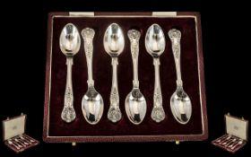Elizabeth II Boxed Set of Six Silver Teaspoons of Great Design and Quality hallmark Sheffield 1976,