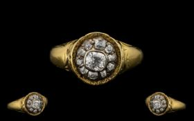 Antique Period 19th Century Diamond Set Sweetheart Cluster Ring. Marked 18ct to interior of shank.
