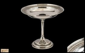 Early 20thC Sterling Silver Long Stemmed Pedestal Bowl with elegant ornate borders and raised on a