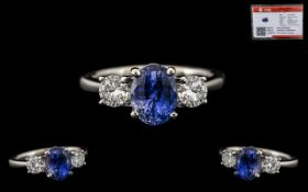 18ct White Gold 3 Stone Stunning Sapphire and Diamond Set Dress Ring of top quality.