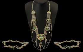 Ornate Belt & Necklace on white metal with decorative coloured enamelling. Very attractive and