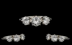 Ladies Superb Quality 18ct White Gold 3 Stone Diamond Set Ring - marked 18ct to interior of shank.