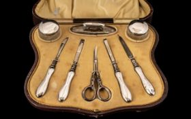 Edwardian Period Ladies Superb Boxed 8 Piece Silver Manicure Set of Excellent Quality and Condition.