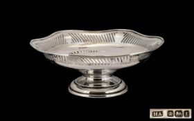 Edwardian Period Nice Quality Sterling Silver Large Footed Bowl with pierced and shaped