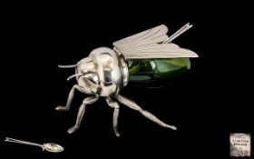 Elkington Large Silver Plated & Glass Novelty Lidded Honey Pot in the form of a large bee complete