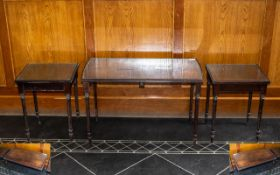 Reproduction Mahogany Nest of Three Tables with glass tops,