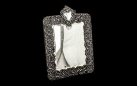 Large Edwardian Silver Mirror by Walker & Hall, ornate and decorative mirror,