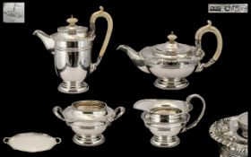 A Fine Quality Silver Four Piece Teaset of Large Robust Size with matching oval tray free from any