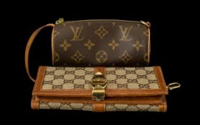 Ladies Gucci Purse Leather Trim With Gold Plated Clasp, 4 x 7½ Inches.