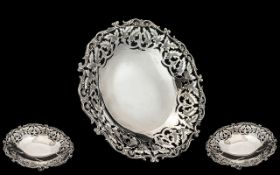 Antique Period Nice Quality - Ornate Silver Footed Fruit Bowl with Ornate Border. 8 Inches - 20 cm