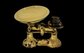 Vintage Cast Weighing Scales and Weights, Aged PAtina, Enamel Pan. Please See Image.