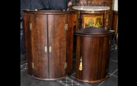 """19th Century Mahogany Bow Fronted Corner Cupboard with glass mounts, height 36"""", 17"""" deep,"""
