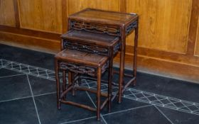 Chinese Antique Nest of Three Tables of traditional Ming period form.