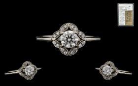 18ct White Gold Superb Quality Diamond Set ring. Full hallmark for 750 - 18ct.