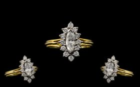 18ct Gold Attractive & Nice Quality Diamond Set Cluster Ring. Full hallmark for 750 - 18ct.