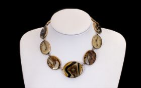 Victorian Period (Mid) Scottish Fine Quality 9ct Gold Mounted Pebble/Agate Set Graduated