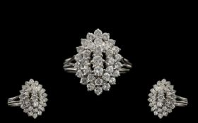 Platinum - Superb Quality Diamond Set Cluster Ring, Boat Shaped Design on 3 Steps Raised. The