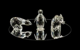 Swarovski Silver Crystal Figures ( 3 ) Figures In Total. Comprises 1/ Polar Bear ' Large, Code No