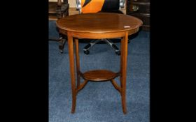 Small Oval Shaped Inlaid Edwardian Mahogany Side Table on splayed legs,