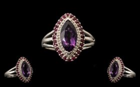 Amethyst, Ruby and White Topaz Marquise Shape Ring, a marquise cut,