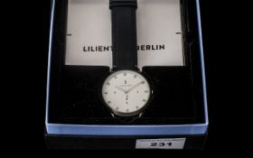 Designer Watch Lilienthal - Berlin boxed with paperwork. Original black leather strap.