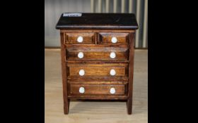 Antique Mahogany Miniature Chest of Drawers, 3 Inches long and 2 Splat Drawers with White Pottery