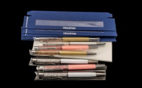 Collection of Swarovski Pens ( 7 ) In Total, Various Colours. In Unused Condition, Boxes come Flat-