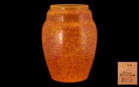 Royal Lancastrian Mottled Orange Ribbed Ovoid Vase of pleasing proportions, c1930s; impressed