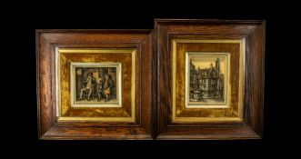 A Pair of Wax Pictures set in a velvet fitted frame with a gilt slip,