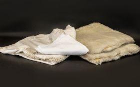 Large Vintage Linen Tablecloth & 12 Napkins.
